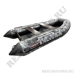 Моторная лодка Хантер 360А серый камуфляж (стационарный транец, НДНД)