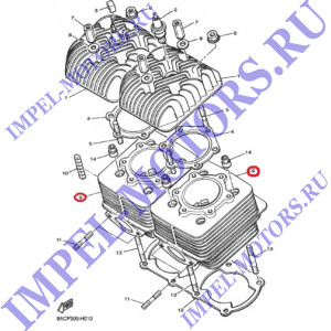 Номер на схеме 9. Цилиндр двигателя Ямаха VK540 III-IV