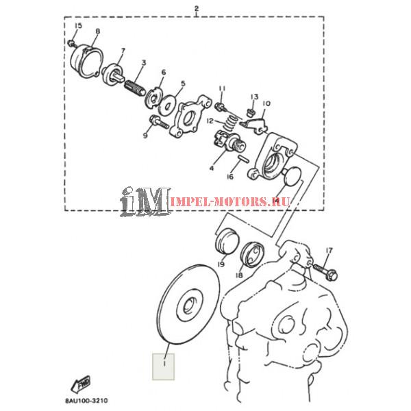 На схеме 1. Тормозной диск снегохода Ямаха Викинг 540